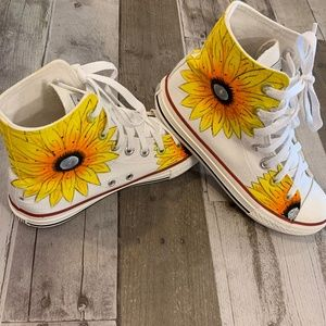 Shoes - Hand Painted Sunflower Print White High-Top Shoes